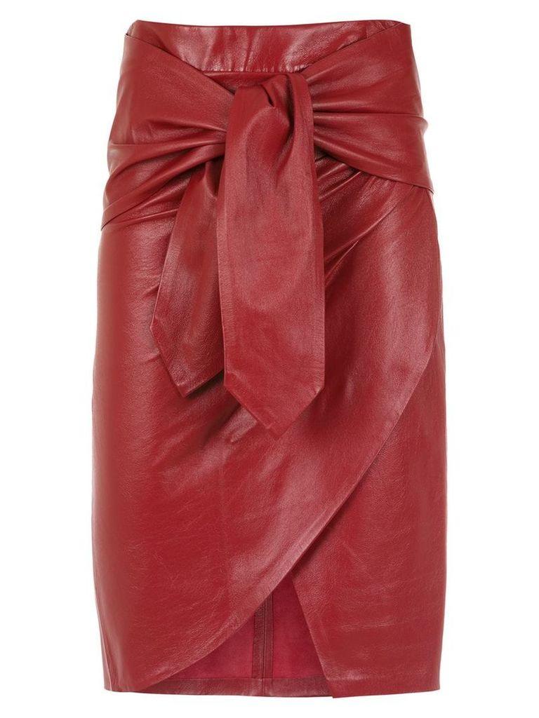 Andrea Bogosian leather midi skirt - Red