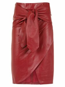 Andrea Bogosian leather midi skirt - Red