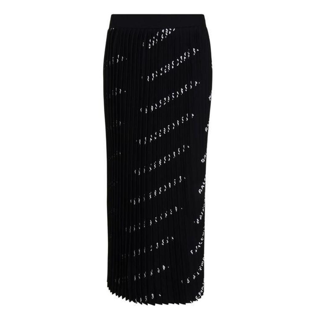 BALENCIAGA All Over Logo Pleated Skirt