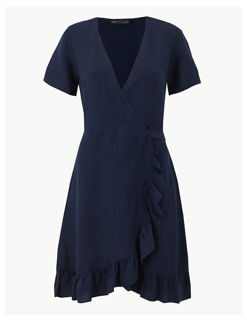 M&S Collection Linen Blend Wrap Dress