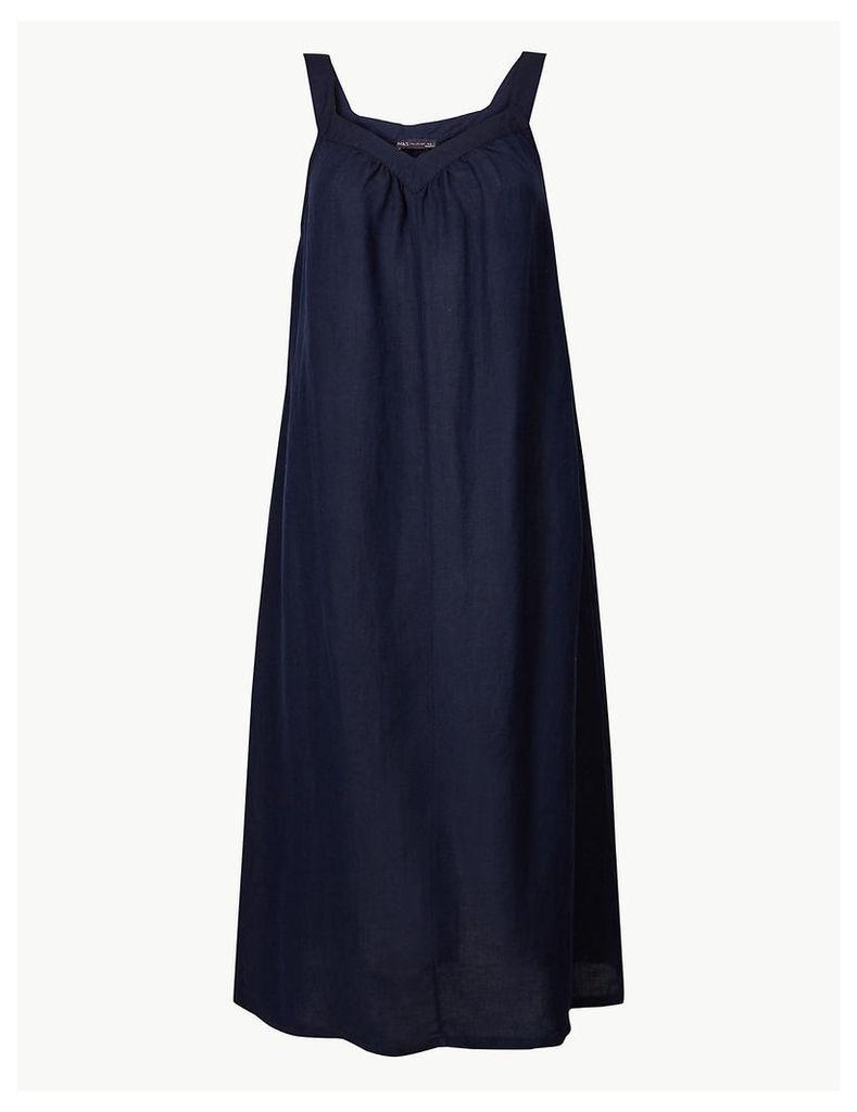 M&S Collection Linen Blend Slip Midi Dress