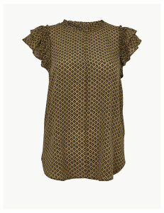 Per Una Pure Silk Printed Ruffle Sleeve Blouse