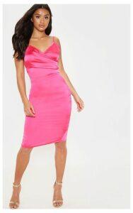 Petite Hot Pink Satin Strappy Midi Dress, Pale Pink
