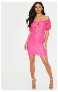 Petite Hot Pink Bardot Lace Detail Bodycon Dress, Hot Pink