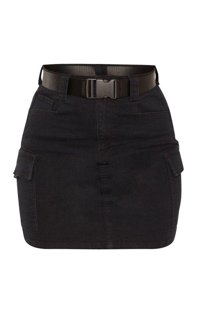 Black Cargo Pocket Denim Skirt, Black