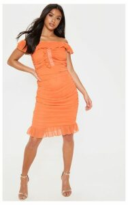Petite Bright Orange Bardot Ruched Dress, Bright Orange