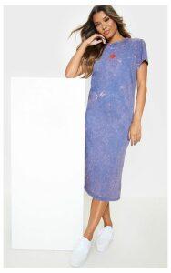 Navy Sun Embroidered Oversized T Shirt Midi Dress, Blue