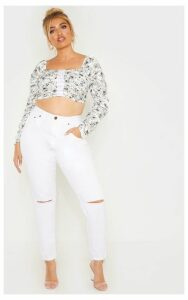 Plus White Ditsy Floral Ruched Lace Up Detail Crop Top, White