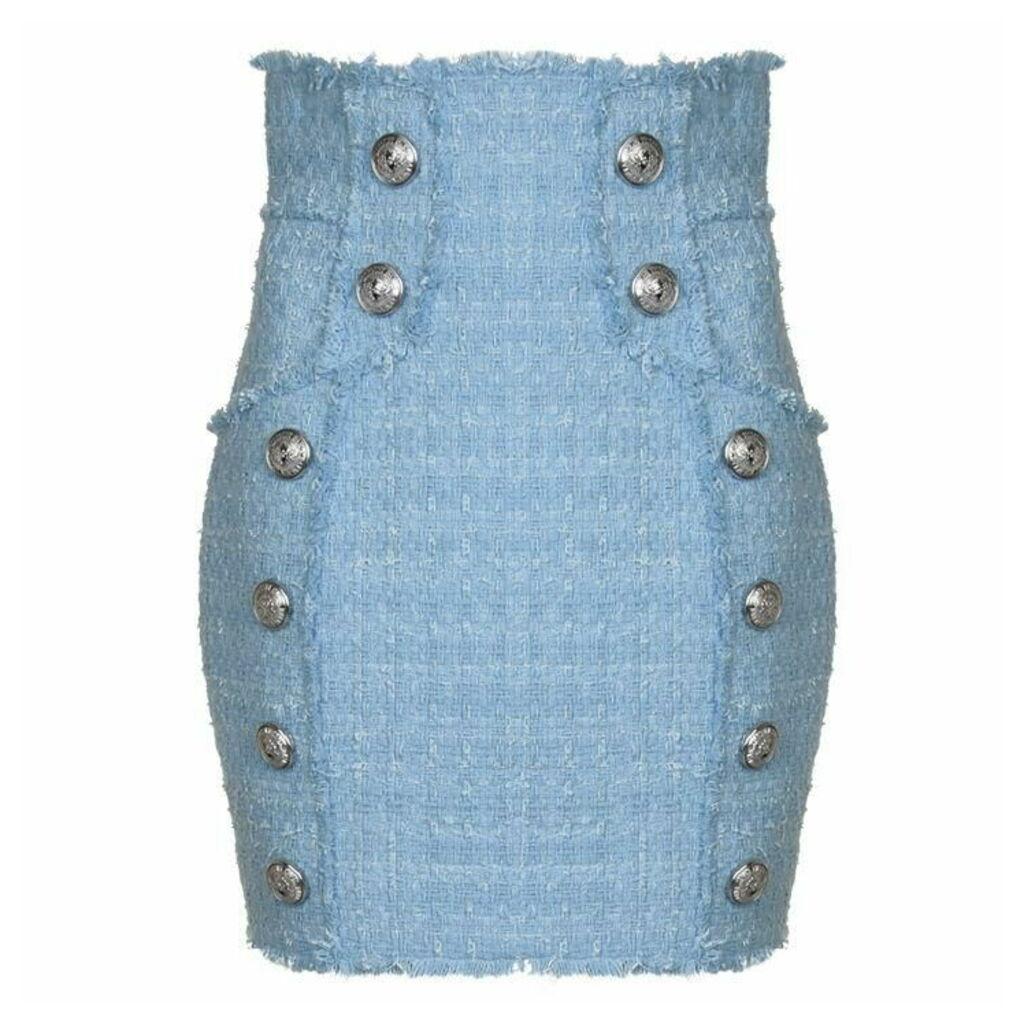 BALMAIN High Waisted Tweed Skirt