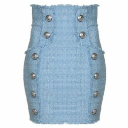Balmain High Waisted Tweed Skirt