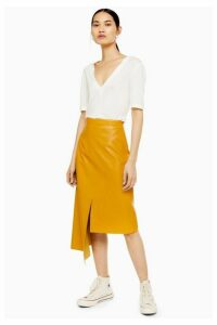 Womens **Leather Step Hem Skirt By Boutique - Banana, Banana