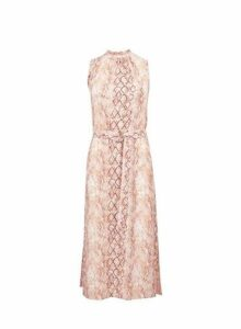 Womens Multi Colour Snake Print High Neck Midi Skater Dress- Coral, Coral