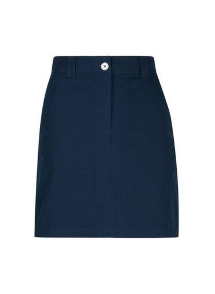 Womens Navy A-Line Skirt- Blue, Blue