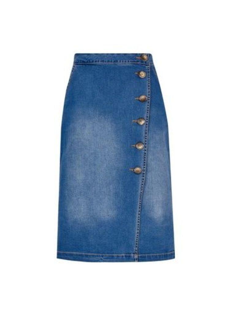 Womens Blue Denim Horn Button Midi Skirt- Blue, Blue