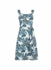 Womens Blue Paisley Print Ruffle Fit And Flare Dress- Blue, Blue