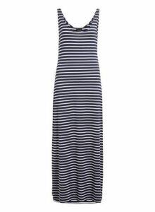 Womens **Vila Navy Striped Jersey Maxi Dress- Black, Black