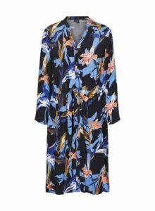 Womens **Vero Moda Black Floral Print Shirt Dress- Multi Colour, Multi Colour