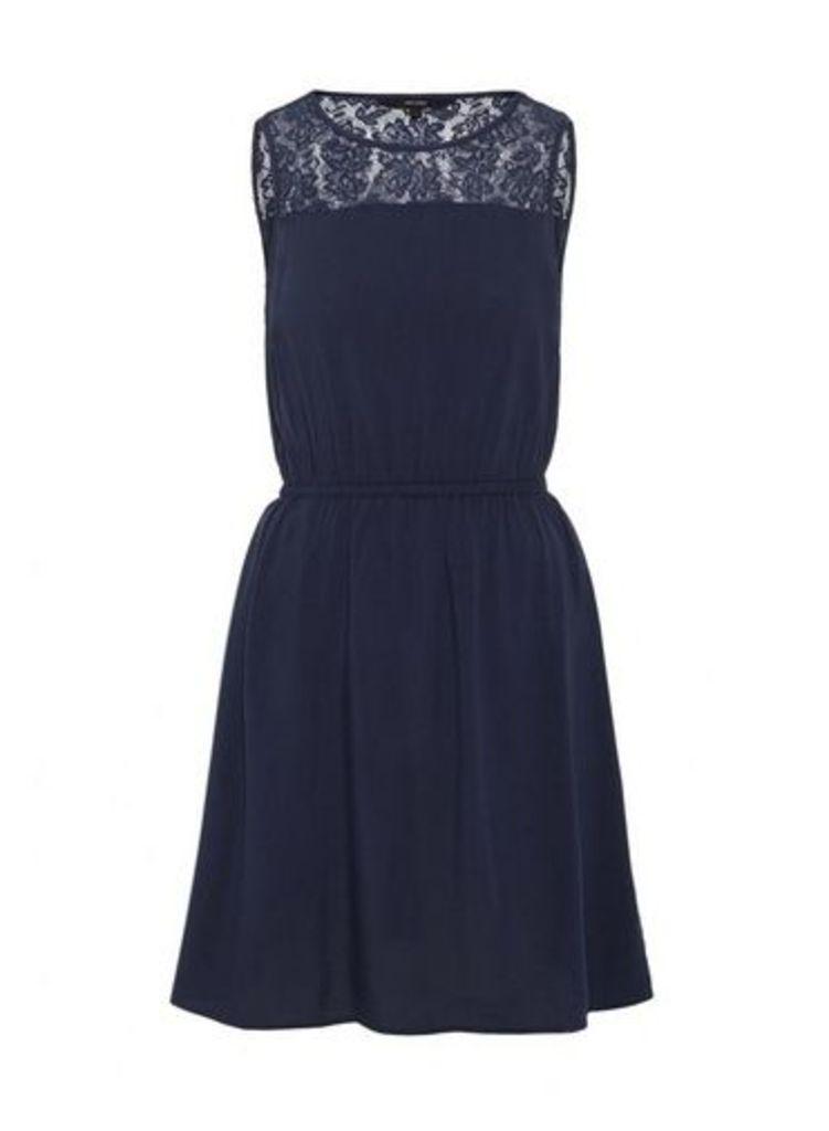 Womens **Vero Moda Navy Lace Waist Dress- Blue, Blue