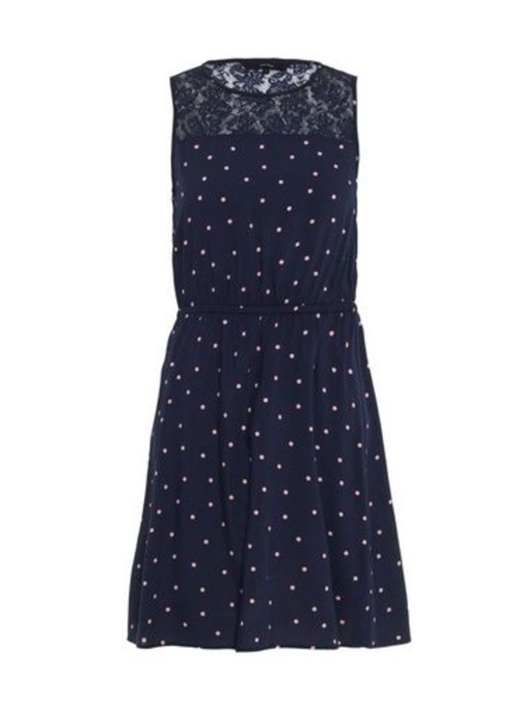 Womens **Vero Moda Navy Spot Print Lace Dress- Blue, Blue