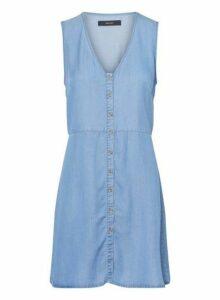 Womens **Vero Moda Blue Button Denim Dress- Blue, Blue