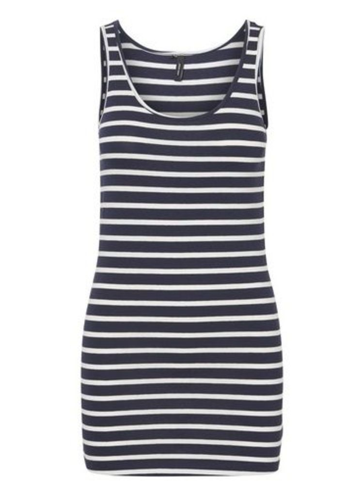Womens **Vero Moda Navy Stripe Print Camisole Dress- Blue, Blue