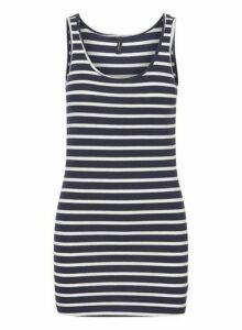Womens **Vero Moda Navy Stripe Print Camisole Dress- Blue, Blue