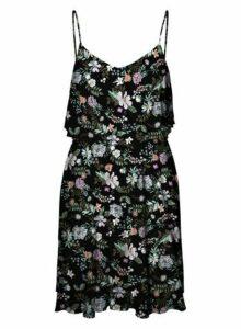 Womens **Vero Moda Black Floral Print Camisole Dress- Black, Black