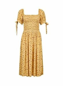 Womens Yellow Floral Print Midi Dress- Yellow, Yellow