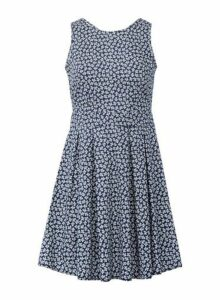 Womens *Izabel London Blue Ditsy Print Skater Dress- Blue, Blue