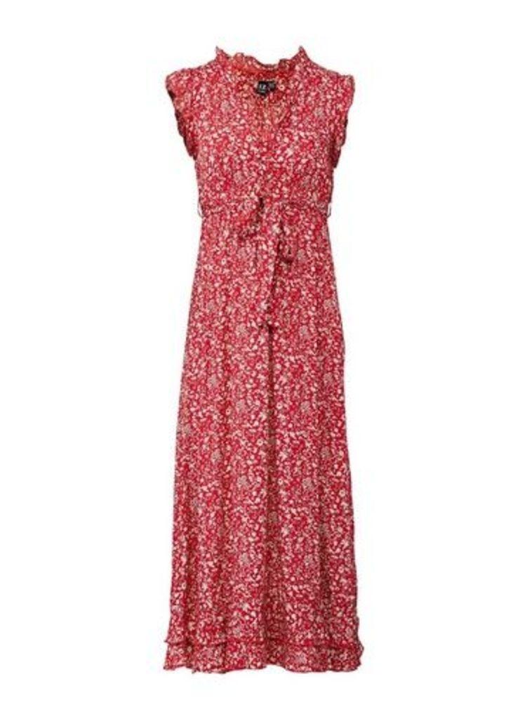 Womens *Izabel London Red Tie Waist Ditsy Print Dress- Red, Red