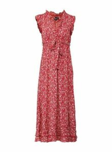 Womens *Izabel London Red Tie Waist Ditsy Print Skater Dress, Red