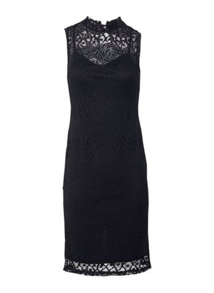Womens *Izabel London Black Lace Bodycon Dress- Black, Black