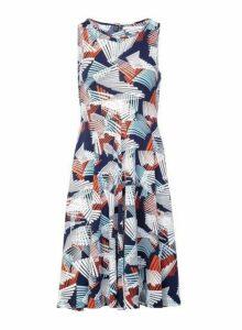 Womens *Izabel London Multi Colour Geometric Print Skater Dress- Multi Colour, Multi Colour