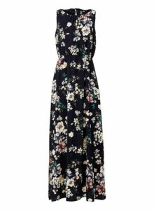 Womens *Izabel London Navy Floral Print A-Line Maxi Dress- Navy, Navy
