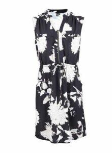Womens *Izabel London Black Floral Print Zip Front Tea Dress- Multi Colour, Multi Colour