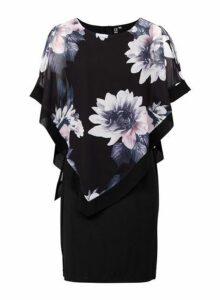 Womens *Izabel London Black Floral Print Overlay Dress- Multi Colour, Multi Colour