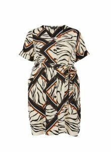 Womens **Dp Curvezebra Print Tea Dress- Multi Colour, Multi Colour