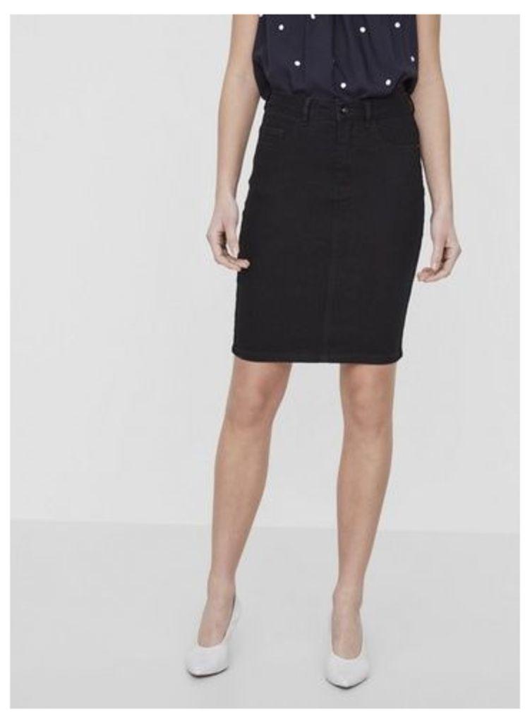 Womens **Vero Moda Black High Waist Denim Pencil Skirt- Black, Black