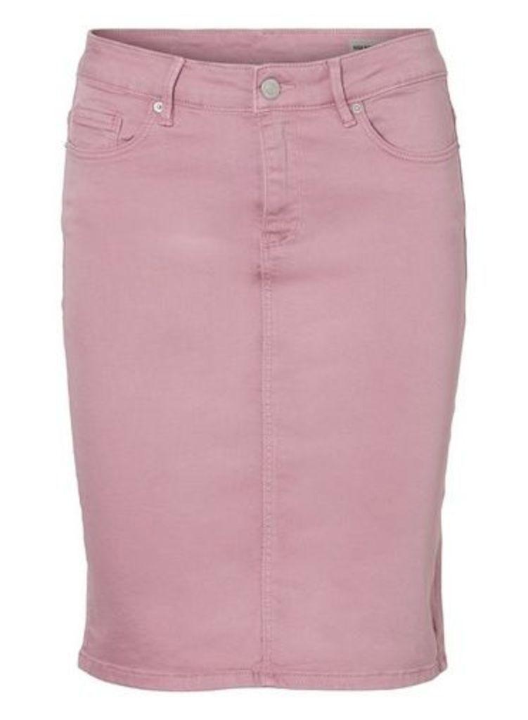 Womens **Vero Moda Pink High Waist Denim Pencil Skirt- Pink, Pink