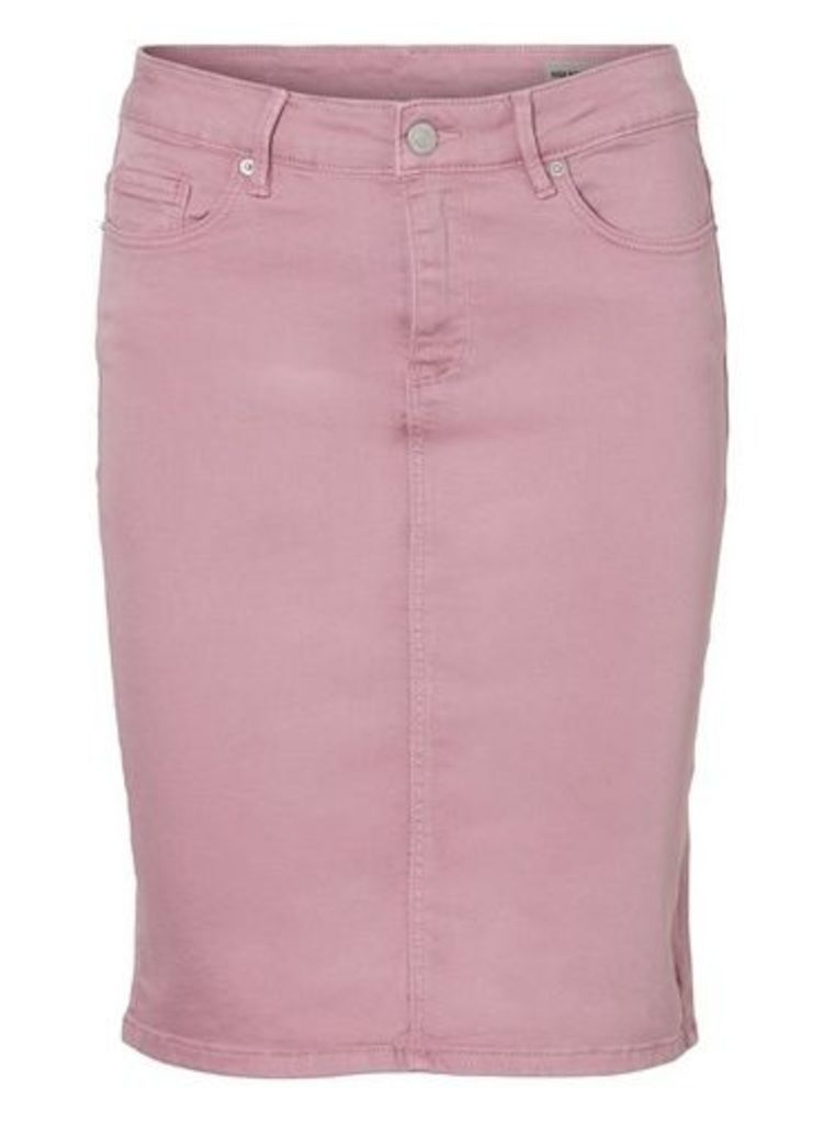 Womens **Vero Moda Pink High Waist Denim Pencil Skirt- Pink, Pink