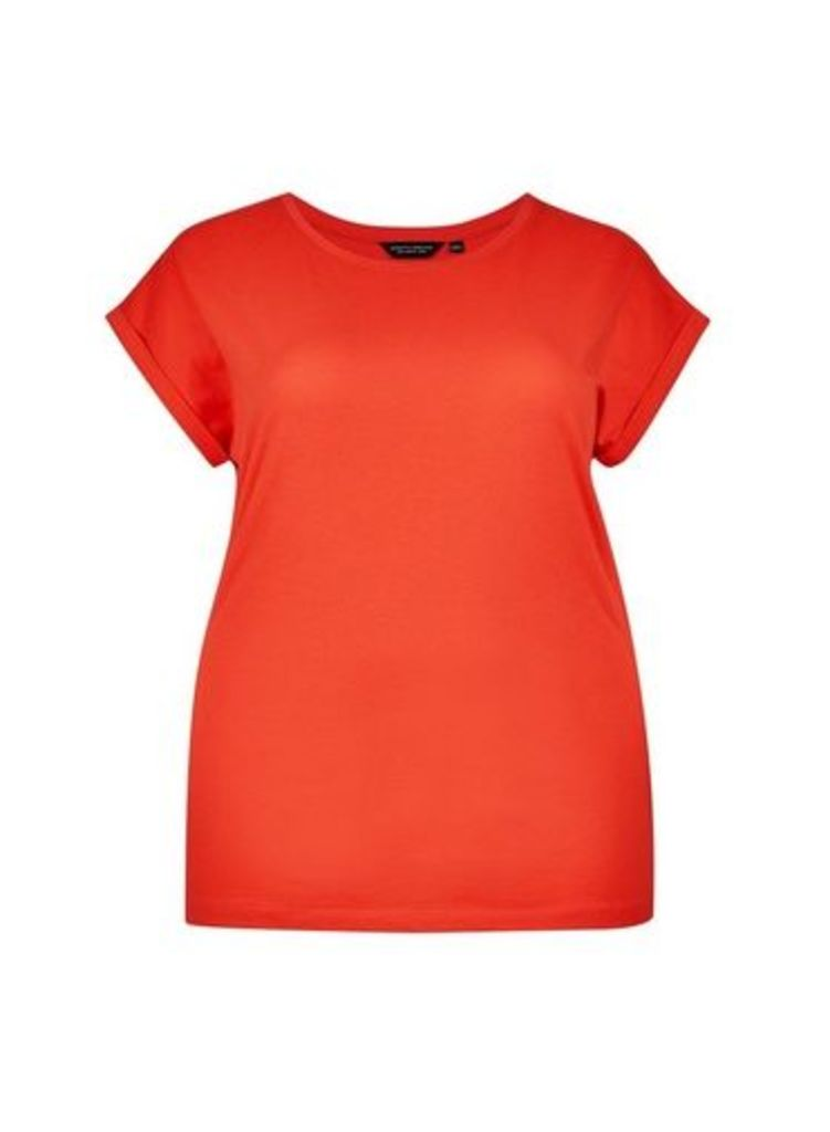 Womens **Dp Curve Red Roll Sleeve Top- Red, Red