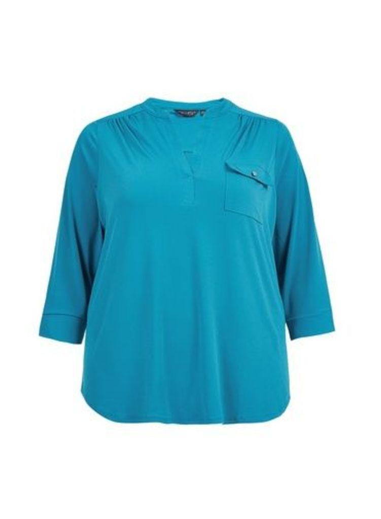 Womens **Dp Curve Teal Interlock Twist Yarn Shirt- Blue, Blue