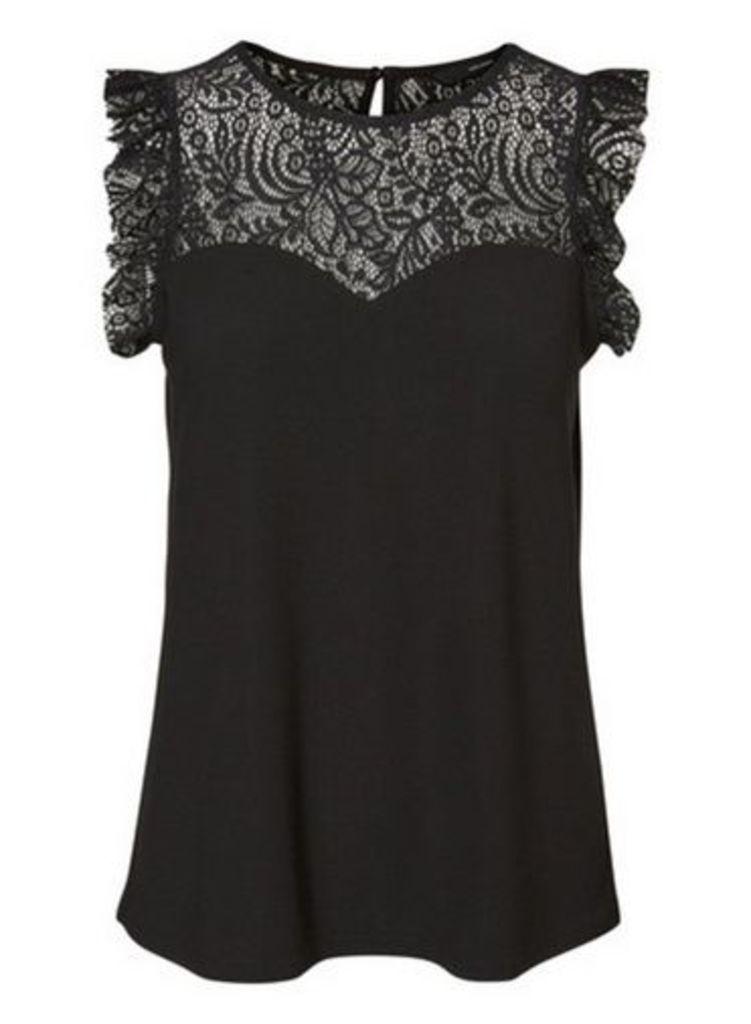 Womens **Vero Moda Black Sleeveless Jersey Top- Black, Black