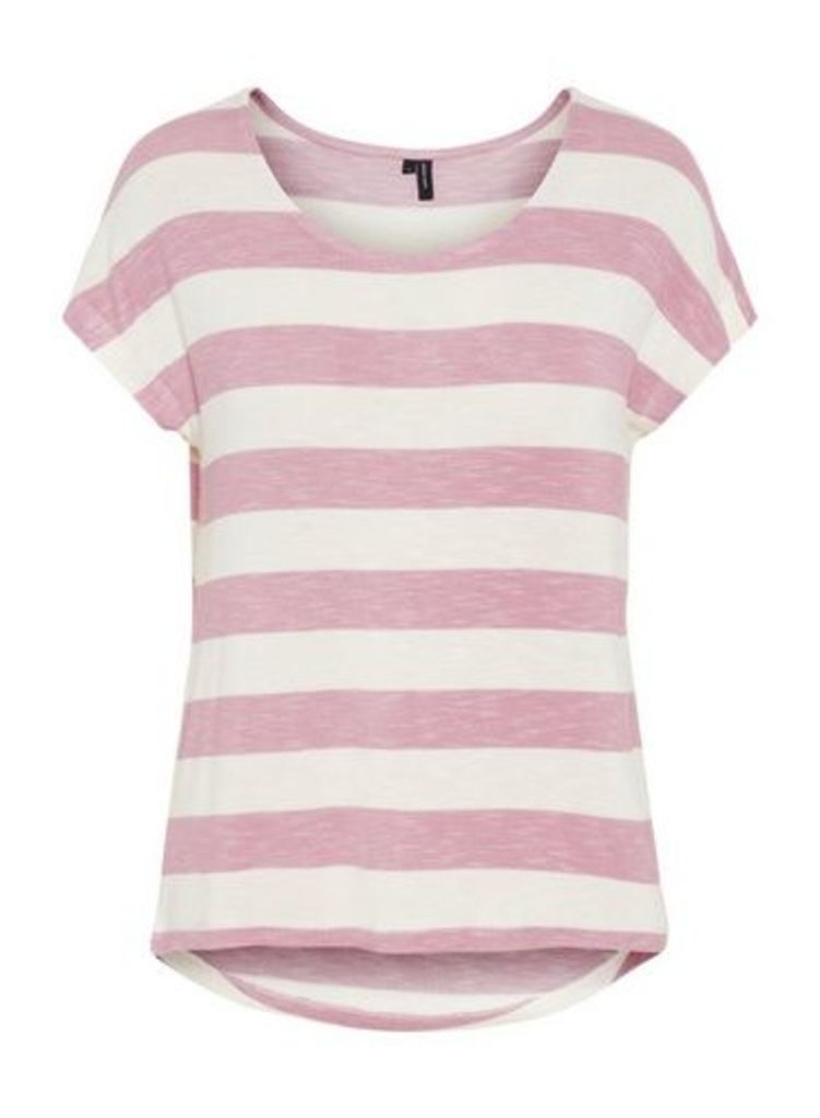 Womens **Vero Moda Pink And White Stripe Print T-Shirt- Pink, Pink