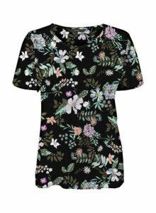 Womens **Vero Moda Multi Coloured Floral Print Top- Black, Black