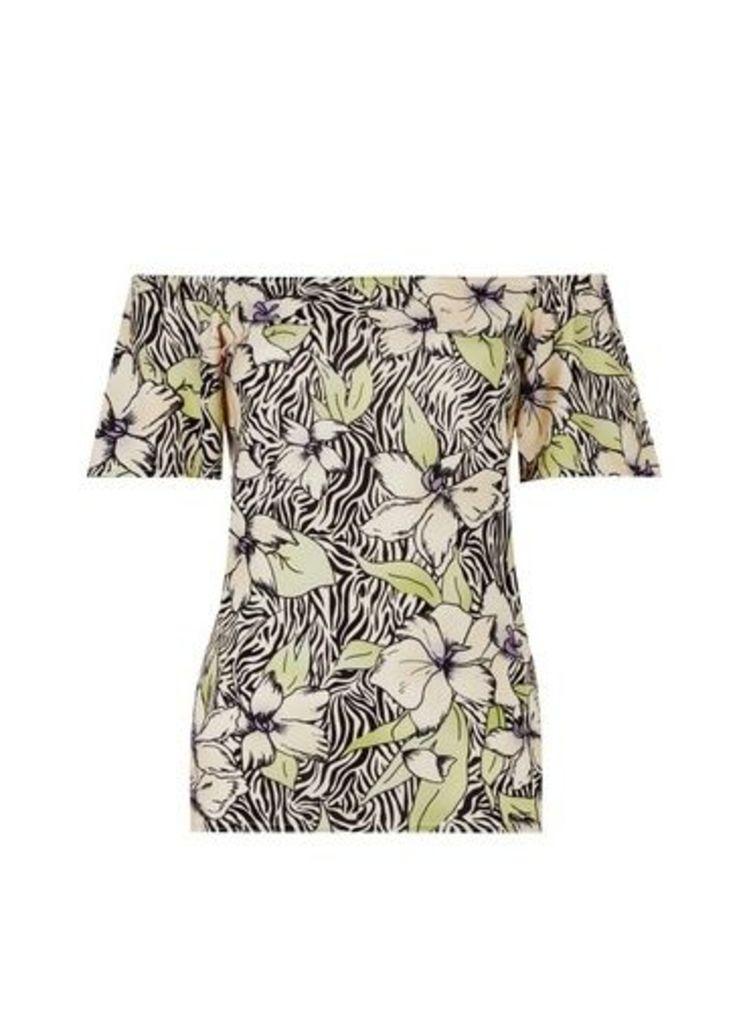 Womens **Tall Multi Colour Zebra And Flower Print Bardot Top- Multi Colour, Multi Colour