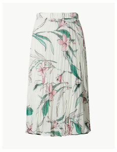 M&S Collection Floral Print Midi A-Line Skirt