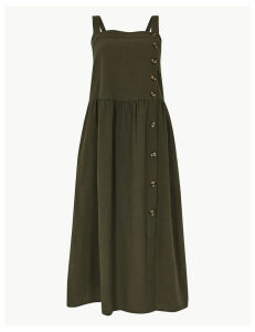 M&S Collection Pure Cotton Midi Waisted Dress