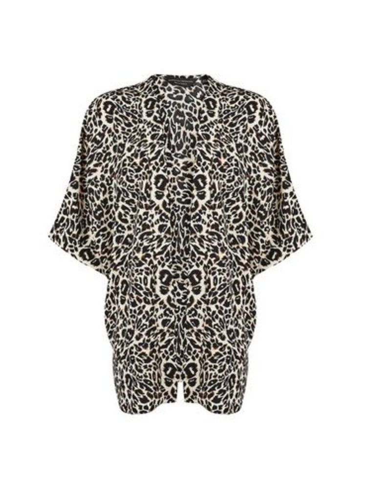 Womens Black Leopard Print Cover Up- Black, Black