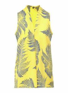 Womens *Izabel London Yellow Leaf Print Blouse- Yellow, Yellow